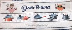 Pano de Prato com faixa decorativa Ponto cruz: Frase + Desenho