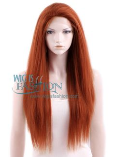 "18""-28"" Long Straight Reddish Orange Lace Front Synthetic Wig"