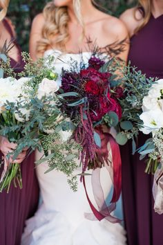 Winter garden wedding with shades of marsala, berry & burgundy. The bouquets!