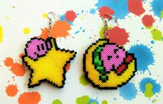 Kirby Star & Moon 8-bit pixel bead earrings made from Perler beads/Hama beads/mini Hama beads by: 8BitEarrings on Etsy
