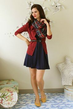 Record Time Dress in Navy | Mod Retro Vintage Dresses | Not digging the scarf, tho.
