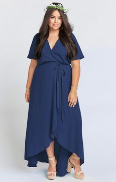 The Sophia Wrap Dress is delicate flutter sleeve wrap dress with a high/low hem. For more coverage we recommend sizing up. Source by Dresses with sleeves Bridesmaid Dresses With Sleeves, Bridesmaid Dresses Plus Size, Plus Size Maxi Dresses, Nice Dresses, Summer Dresses, Wrap Dresses, Maxi Dress Wedding, Wedding Shoes, Glamour