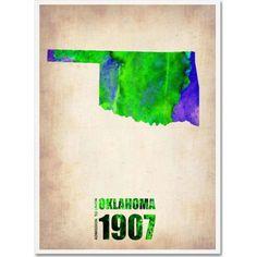 Trademark Fine Art Oklahoma Watercolor Map Canvas Art by Naxart, Size: 24 x 32, Multicolor