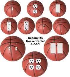 Basketball themed wall plate covers for light switch, toggle, duplex, outlet, decora, rocker, GFCI, great for man caves, garages, sport fans and kids room