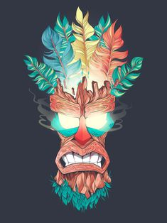 Aku Aku - Crash Bandicoot Wood Mask Art Print by Fernando Nunes Tiki Maske, Tiki Art, Masks Art, Dope Art, Concept Art, Anime Art, Street Art, Illustration Art, Character Design
