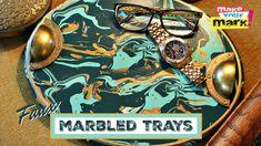 Make beautiful Faux Marbled Trays! #WalnutHollow #DecoArt #PouringMedium