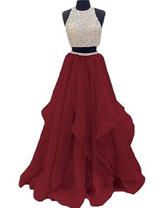 Meilishuo Women's Halter Top Beaded Prom Dress Two Pieces Keyhole Back Evening Dress for Women Parties