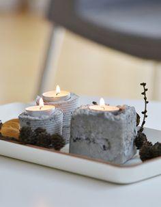 diy concrete votives made in cans, etc. Concrete Wood, Concrete Projects, Concrete Design, Diy Projects, Concrete Candle Holders, Concrete Sculpture, Beton Diy, Candle Lanterns, Candle Art