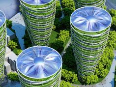 "According to architect Vincent Callebaut, the Paris of 2050 could look very different from the city we know today. The architect recently unveiled plans to transform the metropolis into a futuristic ""smart"" city. Architecture Durable, Green Architecture, Futuristic Architecture, Sustainable Architecture, Sustainable Design, Amazing Architecture, Landscape Architecture, Sustainable Energy, Pavilion Architecture"