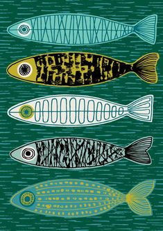 This Five Fish limited edition giclee print is just one of the custom, handmade pieces you'll find in our prints shops. Silkscreen, Lovely Creatures, Inspiration Art, Fish Design, Design Design, Fish Art, Art Plastique, Art Lessons, Printmaking