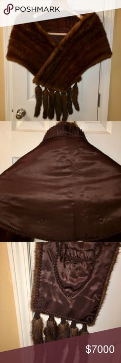 Mink stole with detachable tails. Mink stole with detachable tails. Coffee color, custom made for an Ambassador's wife. Jackets & Coats Capes