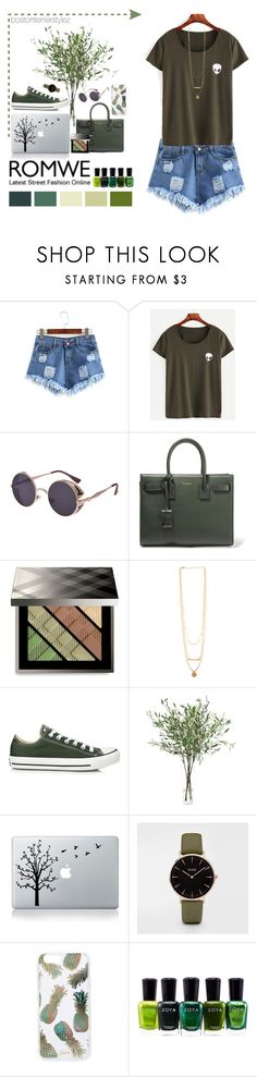 """""""Greens"""" by bostonterrierstylez ❤ liked on Polyvore featuring Yves Saint Laurent, Burberry, Converse, NDI, Sonix, Zoya, romwe and bostontseedscollection"""
