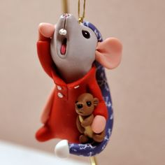 Yawning Mouse with Teddy Bear Ornament by Shelly by rainabedaina