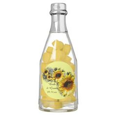 Personalized these pretty Row of #Sunflowers #Wedding Chewing #Gum #Favors with the names of the bride and groom and marriage ceremony date. Feel free to change the text or font to suit your nuptial needs.  These shabby chic custom botanical favors feature a digitally painted floral photograph of yellow garden sunflower blossoms with a pale yellow background. Perfect for your classy summer or fall sunflower engagement party, bridal shower or wedding theme. #weddingfavors #sunflowerwedding