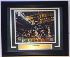 Larry Bird Signed & Framed Boston Celtics vs. Lakers 8x10 Photo SI+Bird Holo - 100% Authentic Autograph