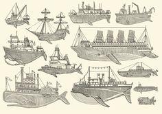 Whale Boats illustration by Kyler Martz Illustration Inspiration, Inspiration Art, Illustration Art, Oldschool, Grafik Design, Marine Life, Oeuvre D'art, Printmaking, Screen Printing