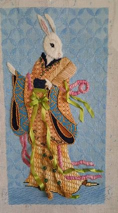 needlepoint geisha bunny, Brenda Sofft canvas