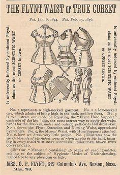 Old 1888 Flynt Waist True Corset Ad Nursing Waist Ad Boston MA Massachusetts | eBay March 2013