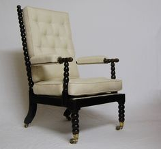 Early Victorian Ebonised Bobbin Chair attributed to Smee & Son with Pa | jasonclarkeltd - Antique Vintage Decor