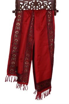 Luxurious Pure Silk Banarasi Scarf with Golden Thread Embroidery Border Fringes #Handmade #Scarf