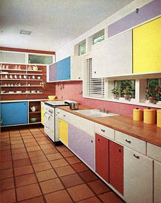 Colorful Mid Century Kitchen