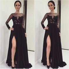 Sexy delantero de Split vestido de noche vestido de festa longo 2015 manga larga vestido de fiesta elegante piso longitud del vestido Formal