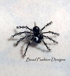 Porcelain Agate Black Bugles Crystals Spider by BeadFashionDesigns