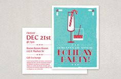 Festive Holiday Party Postcard Template - Planning a Holiday Party? Send out invitations or reminders in the form of this attractive postcard! The backside of this design provides ample room for event details- perfect for a corporate or company-wide event!