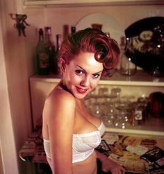 Colleen Farrington (Diane Lane's mom)Playboy's Miss October 1957  but i'm dying over this hair! color! Set! amazing!