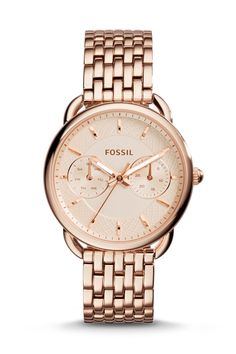 #Fossil Tailor Multifunction Rose-Tone Stainless Steel Watch #fossilstyle