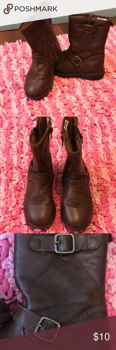 Carters girls brown pull up boots Perfect for winter or to don with a pair of shorts or a dress in summer! These boots are in good condition. There is a spot on one of the buckles when the leather has rubbed off and is pictured above. Shoes Boots