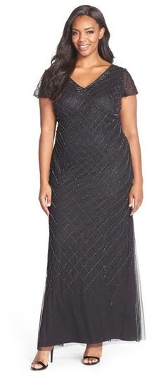 ecd9c2a8e8 Adrianna Papell Beaded Cap Sleeve Gown (Plus Size). Shelle · fashion my  style · Lace Dress ...