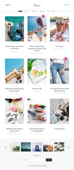 """Demi Blogger Template:  Demi blogger template is a minimal classic theme with a timeless look. Demi is clean and adaptive grid-based layout for artists, fashion bloggers and photographers to showcase their content. This theme comes with """"buy button"""" support, so it helps you to blog and sell stuffs or promote your products in a way that's engaging, letting visitors enjoy your articles in a great way. You can customize your blog through the Theme Designer. Change font, color, and more."""