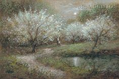 Blossoms in Moonlight by Jon McNaughton apple blossoms, landscape, artist Jon Mcnaughton, Enchanted River, Blooming Apples, River Painting, Look At The Moon, Landscape Paintings, Landscapes, Christian Art, Pretty Art