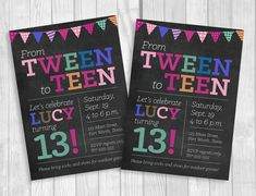 Custom Printable 5x7 Tween To Teen Girls 13th Thirteen Birthday Party Invitation