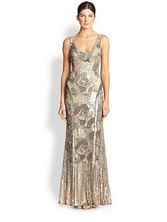 Theia - Sequined V-Neck Gown - Saks.com