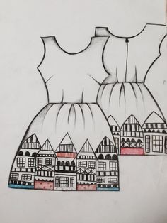 A final drawing of the back and front of the dresss Beautiful Buildings, Design Projects, Archive, Drawings, My Style, Creative, Pattern, Fashion Design, Inspiration