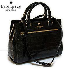 NWT-Kate-Spade-Mini-Romy-Perri-Lane-Croco-Leather-Black-Satchel-398