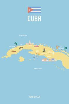 Mon Itinéraire et budget pour trois semaines à Cuba - Awwway #Cuba #Map #Illustration