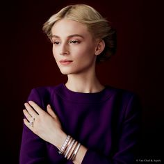 """Van Cleef & Arpels new """"Jewelry and Watches"""" catalog. Socrate Between the Finger Ring, white gold and diamonds. Perlée clover bracelet, white gold and diamonds. Perlée signature bracelet,  pink gold. Perlée bracelet, white gold and diamonds. Perlée bracelet, pink gold and diamonds. Perlée signature bracelet, white gold."""