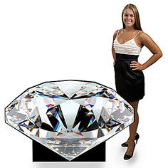 This large Diamond Standee has the look of a beautifully faceted diamond. Each free-standing cardboard Diamond Standee is printed on one side.