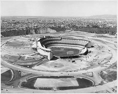 """""""Dodger Stadium, ca 1962 - new ballpark for the Los Angeles Dodgers comes to realization at Chavez Ravine"""" Dodgers Baseball, Dodgers Gear, Baseball Park, Baseball Photos, Sports Stadium, Dodger Stadium, Dodger Blue, Yankee Stadium, Fenway Park"""
