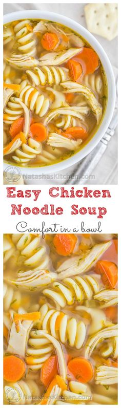 Easy and Delicious Chicken Noodle Soup. The secret is in the chicken thighs!! /natashaskitchen/