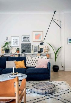 Living Room Interior Design Dark Blue Sofa With White And . Spacious Home In London KeriBrownHomes. Blue Living Room Ideas For A More Breathtaking Living Room . Home and Family Blue Couch Living Room, New Living Room, Living Room Furniture, Living Room Decor, Dark Furniture, Furniture Ideas, Modern Furniture, Blue And Pink Living Room, Furniture Stores