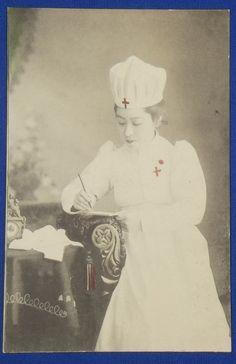 1900s Postcard : Red Cross Nurse Photo at the Russo-Japanese War time - Japan War Art