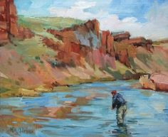 A Day On The Owyhee - Oregon river fly fishing in the northwest, painting by artist Mary Maxam