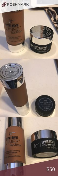 It Cosmetics Bye Bye Bundle New never used It Cosmetics Bye Bye Lines Foundation in Deep and Bye Bye under-eye in Deep. It Cosmetics Makeup