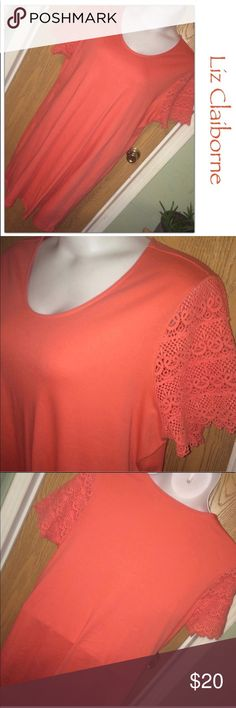 "Liz Claiborne Coral Dress Coral Shift Dress w/Crocheted Sleeves 🔸Great Condition 🔸Size 2X 🔸100% cotton but does have some stretch 🔸Approx 29"" from underarm to underarm and 31"" from underarm to hemline 🔸Bundle and save up to 25% off Liz Claiborne Dresses"