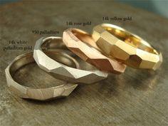 14k rose gold - Chiseled Ring - 5mm wide. $535.00, via Etsy.