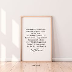 As i began to love my self Poem Print Fulfillment 8 Quote | Etsy